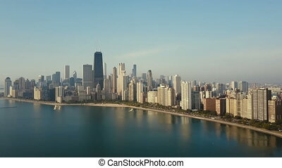 Aerial view of panorama of the city on the shore. Chicago,...