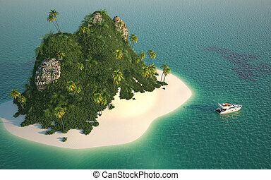 aerial view of paradise island - aerial view of a paradise ...