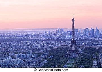 Aerial view of Paris at sunset