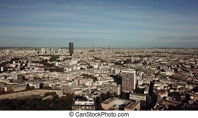 Aerial view of Paris cityscape and the Eiffel tower on a sunny day, France