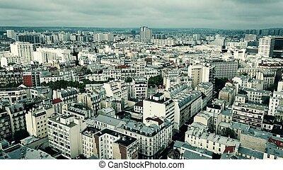 Aerial view of Paris cityscape, France