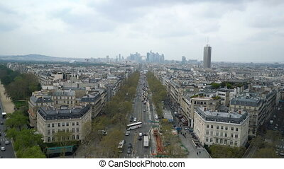 Aerial view of Paris cityscape
