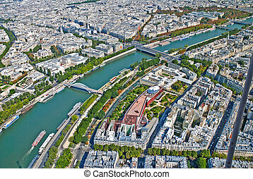 Aerial view of Paris from Eiffel T