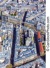 Aerial View of Paris Streets  from Eiffel Tower