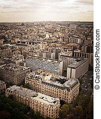 Aerial View Of Paris Vernacular - A view of traditional...