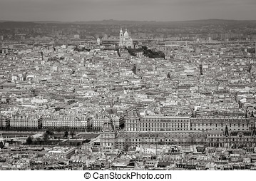 Aerial view of Paris with Louvre and Sacre Coeur Basilica