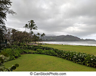 Aerial view of Park and Hanalei bay