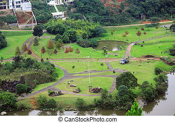 aerial view of park in Curitiba