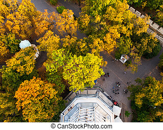 Aerial view of park under Petrin Tower in Prague