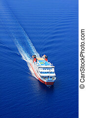 Aerial view of passenger ferry boat