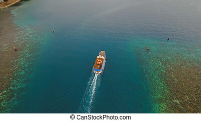 Aerial view of passenger ferry boat. Philippines.