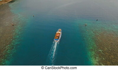 Aerial view of passenger ferry boat. Philippines. - Aerial...