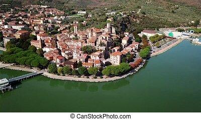 Aerial view of Passignano sul Trasimeno Tuscany Italy -...