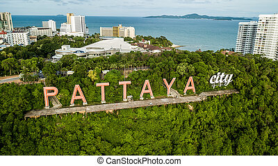 Aerial view of Pattaya , Thailand .