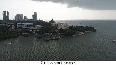 Aerial view of Pattaya with ancient temple Sanctuary of...