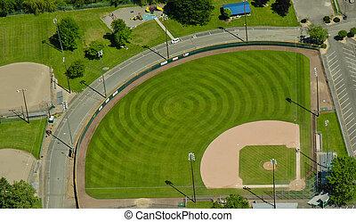 Aerial View of Pattern in Baseball Field - Circular mowing...