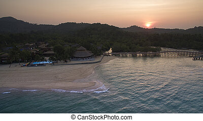 aerial view of Payam Island beautiful seascape and traveling destination in Ranong Province Andaman sea southern of thailand