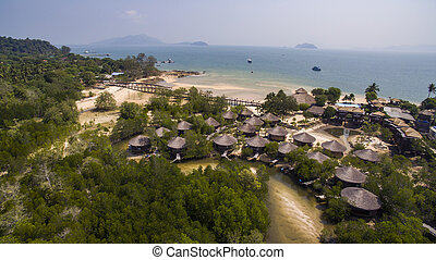 aerial view of payam island most popular traveling destination in ranong province andaman sea southern of thailand