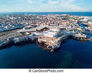 Aerial View Of Peniche Fortress And City At Sunset