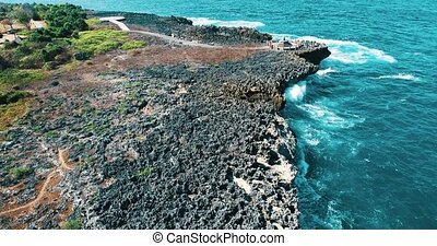 Aerial view of Peninsula Island, Bali - Aerial drone view of...