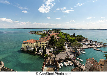 Aerial View of peninsula with Sirmione town from the Scaliger Castle over the Garda Lake, Italy