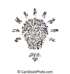 Aerial view of people that are grouping in light bulb shape....