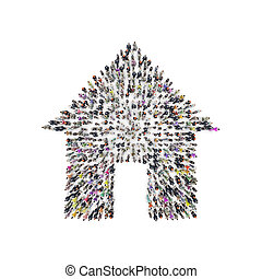 Aerial view of people that are grouping in house shape. 3D...