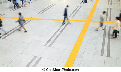 Aerial view of people walking on pa - time-lapseshot of...