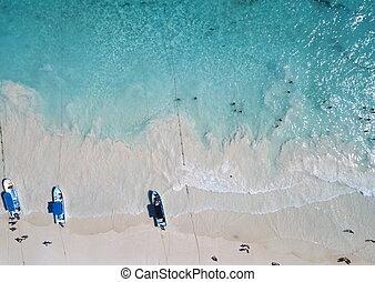 Aerial view of Pescadores beach in Tulum Mexico