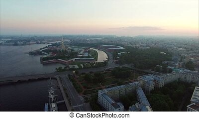 Aerial view of Peter and Paul Fortress in Saint-Petersburg at the evening