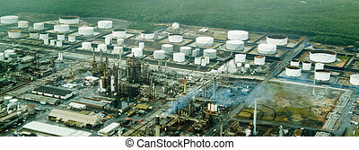 Aerial view of petrochemical plant and refinery