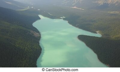 Aerial view of Peyto Lake, Canada - Aerial view of Peyto...