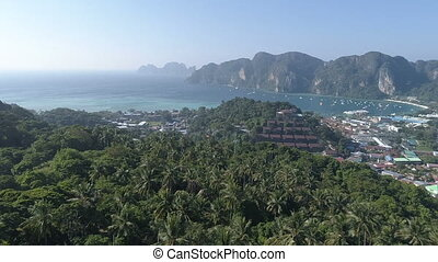 Aerial view of Phi Phi Island during sunny summer day