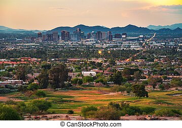 Phoenix Arizona skyline at sunset