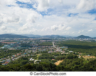 Aerial view of Phuket town, Thailand, drone
