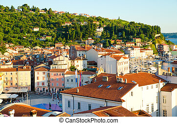 Piran in Slovenia - aerial view of Piran in Slovenia