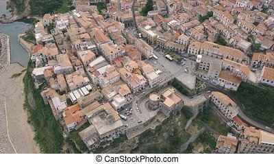 Aerial view of Pizzo, video shot on a drone. Flight of a drone over Pizzo overlooking the old and modern town. Calabria, Italy.
