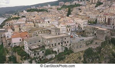 Aerial view of Pizzo, video shot on a drone. Flight of a drone over Pizzo overlooking the old town. Calabria, Italy.