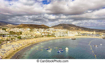 Aerial view of Playa de Los Cristianos - Tenerife, Spain