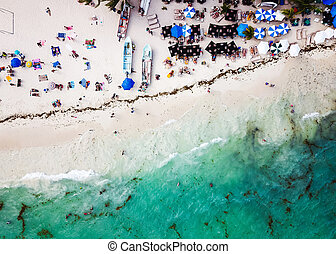 Aerial view of Playa del Carmen public beach in Quintana roo, Mexico