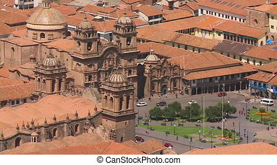 Aerial View Of Plaza De Armas, Cusco City, Peru - Close-up...