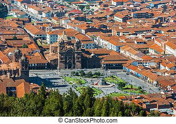 aerial view of Plaza de Armas Cuzco city peruvian Andes -...