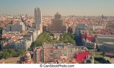 Aerial view of Plaza de Espana, famous square in Madrid, ...