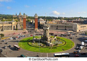 plaza de Espanya - Aerial view of plaza de Espanya with ...