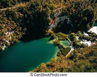 Aerial view of Plitvice national park waterfalls, Croatia