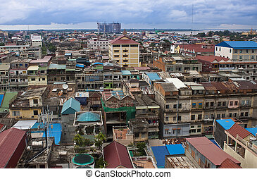 Aerial view of Pnom Penh, Cambodia