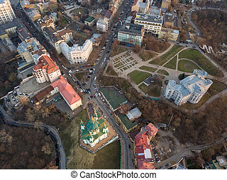 aerial view of Podol and St Andrew's Church in Kiev city