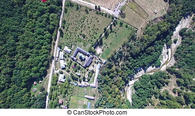 Aerial view of Polovragi Monastery, Romania