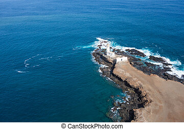 Aerial view of Ponta Temerosa lighthouse farol in the city of Praia in Santiago - Cape Verde - Cabo Verde