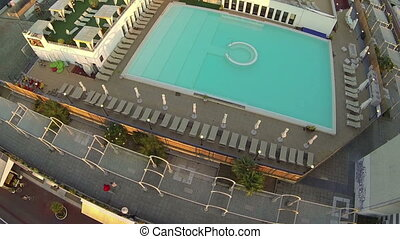 Aerial view of pool in a resort